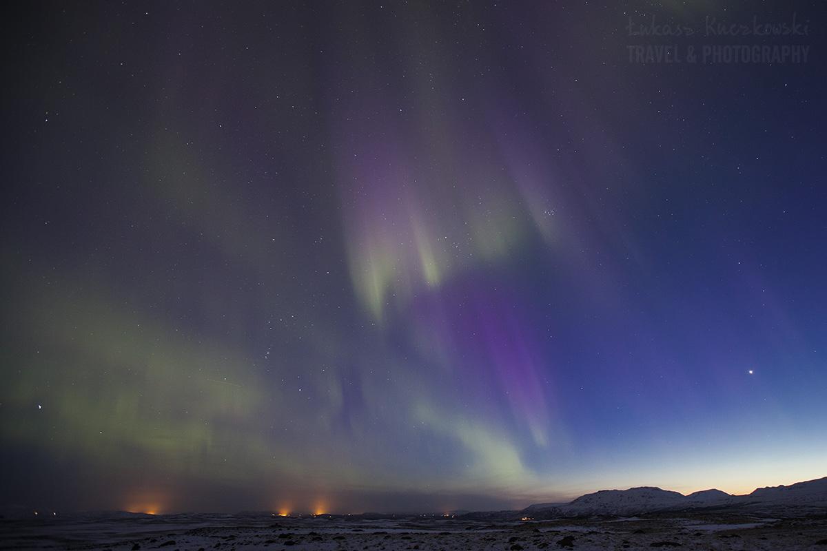 zorza polarna, Islandia, zanieczyszczenia światła